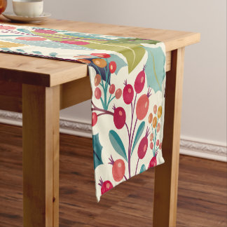 Colorful Flowers & Forest Autumn Leaves Pattern Short Table Runner