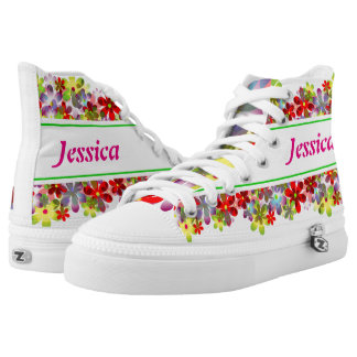 Colorful flowers high tops