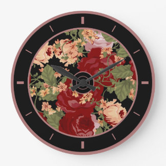 Colorful Flowers Illustration Collage Large Clock