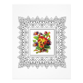 colorful flowers in frame customized letterhead
