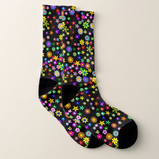 Colorful Flowers Large All-Over-Print Socks