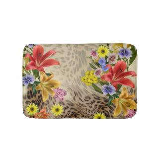 Colorful Flowers & Leopard Print Bath Mat