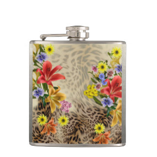 Colorful Flowers & Leopard Print Hip Flask
