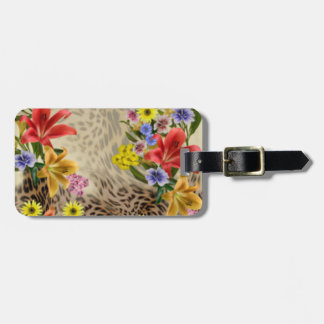 Colorful Flowers & Leopard Print Luggage Tag
