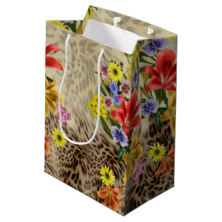 Colorful Flowers & Leopard Print Medium Gift Bag