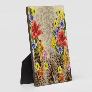 Colorful Flowers & Leopard Print Plaque