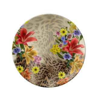 Colorful Flowers & Leopard Print Plate