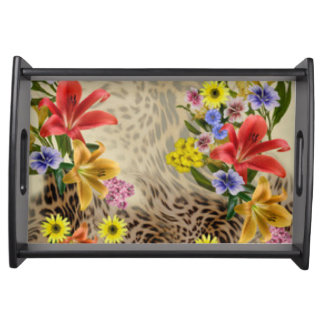 Colorful Flowers & Leopard Print Serving Tray