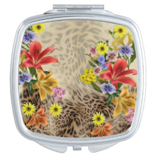Colorful Flowers & Leopard Print Travel Mirrors