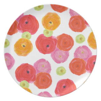 Colorful Flowers Melamine Plate