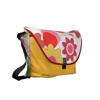 Colorful flowers messanger bag commuter bag