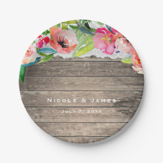 Colorful Flowers Modern Floral Chic Wood & Lace Paper Plate
