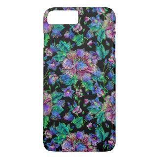 Colorful Flowers Pattern Black Background iPhone 8 Plus/7 Plus Case
