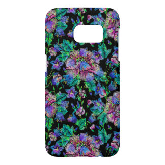 Colorful Flowers Pattern Black Background Samsung Galaxy S7 Case