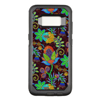 Colorful Flowers Pattern Glass-Beads Look OtterBox Commuter Samsung Galaxy S8 Case