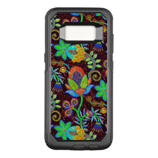 Colorful Flowers Pattern Glass Beads Look OtterBox Commuter Samsung Galaxy S8 Case