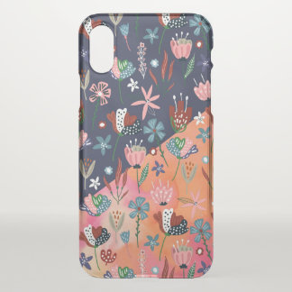 Colorful Flowers Pattern Modern Geometric Design iPhone X Case