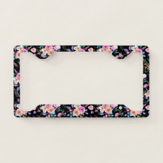 Colorful Flowers Pattern On Black License Plate Frame