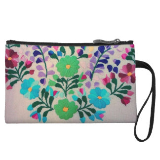 Colorful Flowers Pattern Wristlet
