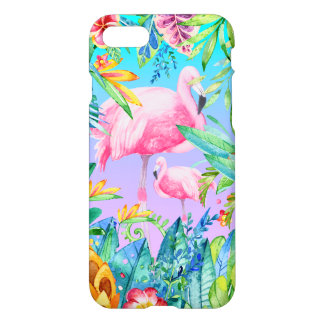 Colorful Flowers & Pink Flamingos iPhone 7 Case