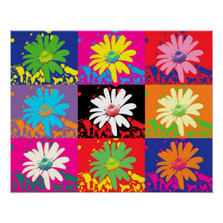 colorful flowers PopArt Poster