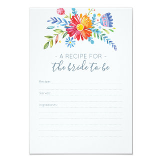 Colorful flowers Recipe card for Bridal Shower