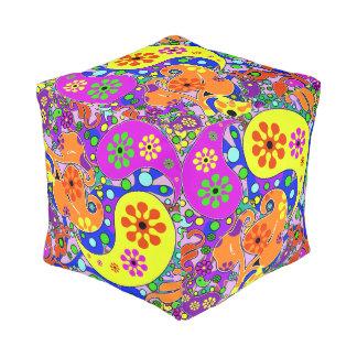 Colorful Flowers Retro Paisley Pattern Pouf