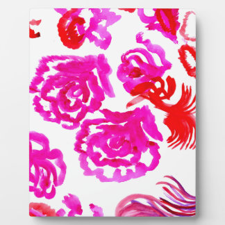 Colorful Flowers Strokes 3 Plaque