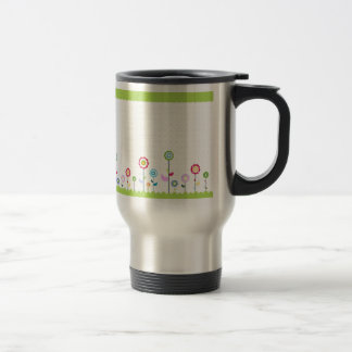 Colorful flowers travel mug