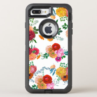Colorful Flowers Watercolors Illustration OtterBox Defender iPhone 7 Plus Case