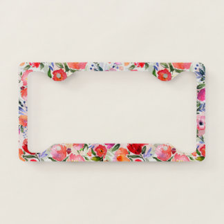 Colorful Flowers Watercolors Illustration Pattern License Plate Frame