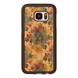 Colorful Flowers Watercolors Pattern Wood Samsung Galaxy S7 Case