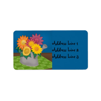 Colorful Flowers Watering Can Blue Address Label
