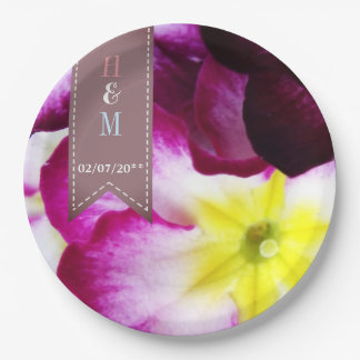 Colorful Flowers Wedding Paper Plate