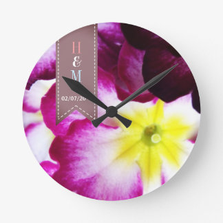 Colorful Flowers Wedding Round Clock