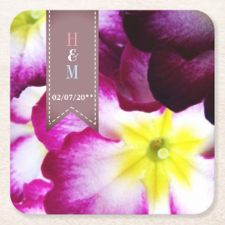 Colorful Flowers Wedding Square Paper Coaster