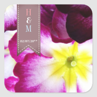 Colorful Flowers Wedding Square Sticker