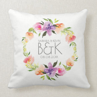 Colorful Flowers Wedding Wreath Throw Pillow