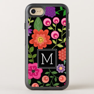 Colorful Flowers with Black Background Monogram OtterBox Symmetry iPhone 8/7 Case