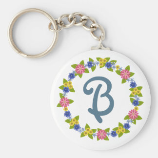 Colorful Flowers Wreath with Monogram Basic Round Button Keychain