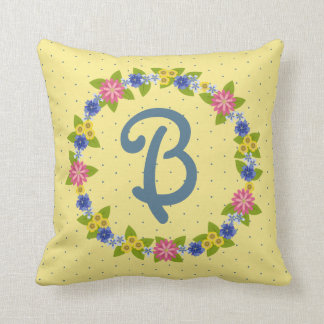 Colorful Flowers Wreath with Monogram Throw Pillow