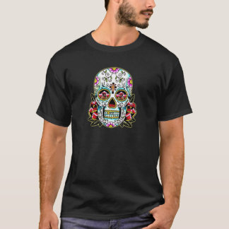 Colorful Flowery Skull Tattoo Art T-Shirt