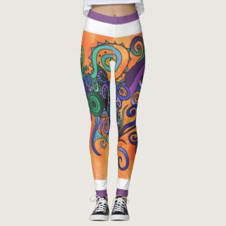 Colorful Flowing Swirls Leggings