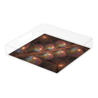 Colorful Fluorescent Abstract Modern Brown Fractal Acrylic Tray