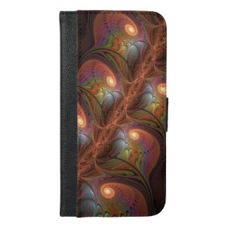 Colorful Fluorescent Abstract Modern Brown Fractal iPhone 6/6s Plus Wallet Case