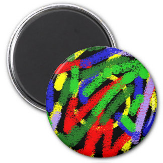Colorful fluorescent squiggly lines 2 inch round magnet