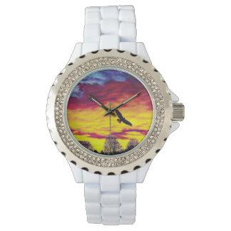 Colorful Fly Bird Fly Rhinestone Watch