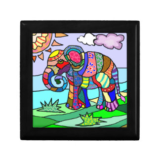 Colorful folcloristic abstract elephant painting gift box