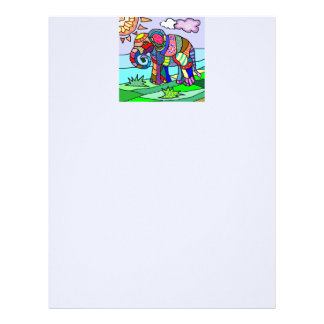 Colorful folcloristic elephant painting letterhead