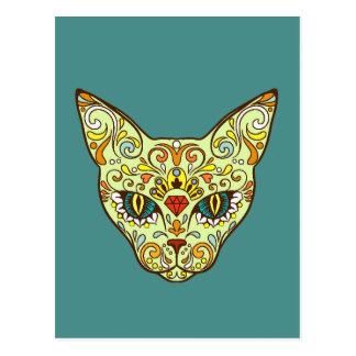Colorful Folk Art Sugar Skull Magical Cat Postcard